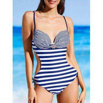 Stripe Underwire One Piece Swimsuit