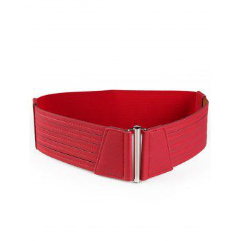 Striped Pattern Faux Leather Elastic Wide Waist Belt - RED RED