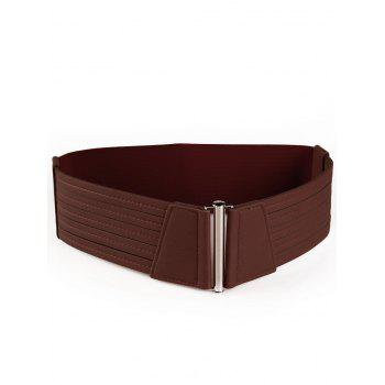 Striped Pattern Faux Leather Elastic Wide Waist Belt - CAPPUCCINO CAPPUCCINO