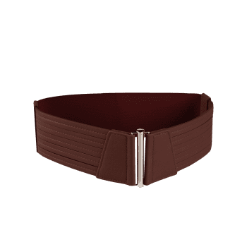 Striped Pattern Faux Leather Elastic Wide Waist Belt -  CAPPUCCINO