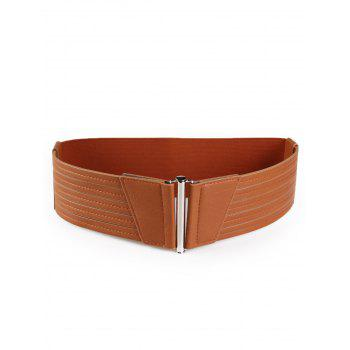 Striped Pattern Faux Leather Elastic Wide Waist Belt - CHOCOLATE CHOCOLATE