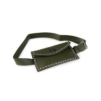 Vintage Mini Rivet Bag Decoration Artificial Leather Skinny Belt - GREEN GREEN
