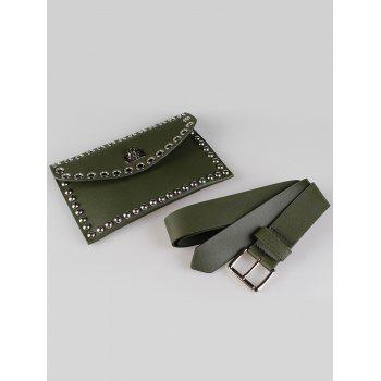 Vintage Mini Rivet Bag Decoration Artificial Leather Skinny Belt -  GREEN