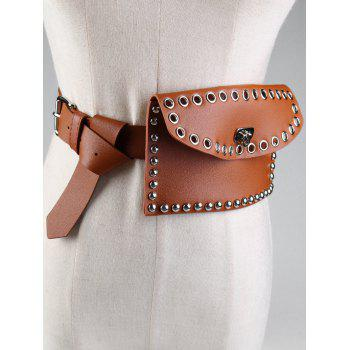 Vintage Mini Rivet Bag Decoration Artificial Leather Skinny Belt -  CHOCOLATE