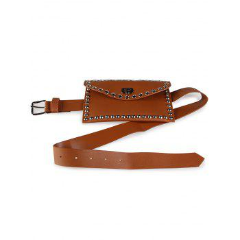 Vintage Mini Rivet Bag Decoration Artificial Leather Skinny Belt - CHOCOLATE CHOCOLATE