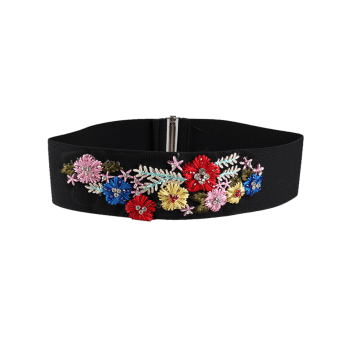 Vintage Rhinestone Floral Decoration Elastic Wide Waist Belt - COLORFUL