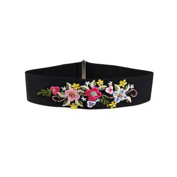 Vintage Rhinestone Floral Decoration Elastic Wide Waist Belt - RED AND WHITE RED/WHITE