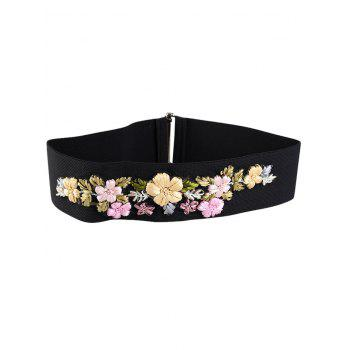Vintage Rhinestone Floral Decoration Elastic Wide Waist Belt - PINK AND YELLOW AND GREEN PINK/YELLOW/GREEN