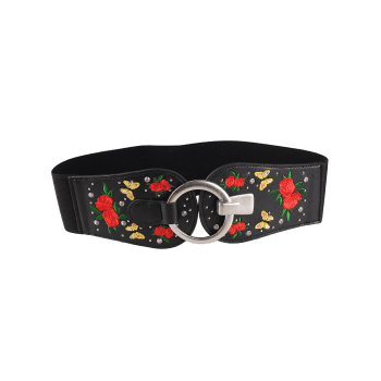 Vintage Round Buckle Floral Embroidery Wide Waist Belt - PATTERN A