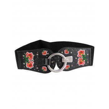 Vintage Round Buckle Floral Embroidery Wide Waist Belt - PATTERN D PATTERN D