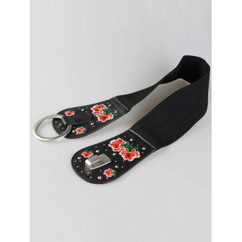 Vintage Round Buckle Floral Embroidery Wide Waist Belt - PATTERN D