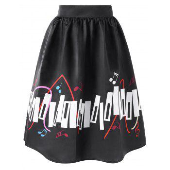 High Waisted Music Notes Print Plus Size Skirt - BLACK 3XL