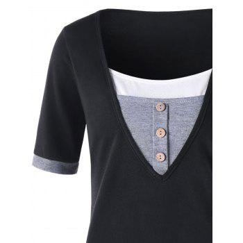 Short Sleeve Panel T-shirt with Button - BLACK XL