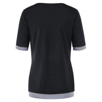 Short Sleeve Panel T-shirt with Button - BLACK 2XL