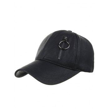 Outdoor PU Leather Zipper  Baseball Cap - BLACK BLACK