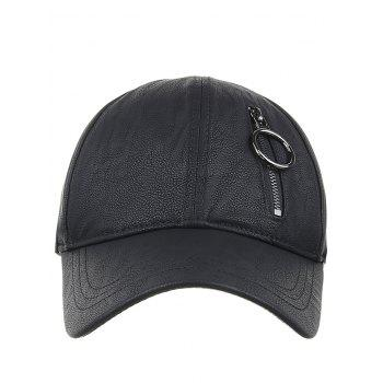 Outdoor PU Leather Zipper  Baseball Cap -  BLACK