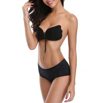 Backless Adhesive Push Up Bra - BLACK CUP A
