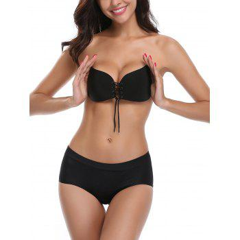 Backless Adhesive Push Up Bra - BLACK CUP B