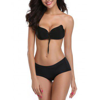 Backless Adhesive Push Up Bra - BLACK BLACK