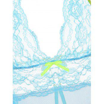 Backless Lace Sheer Garter Babydoll - LIGHT BLUE ONE SIZE