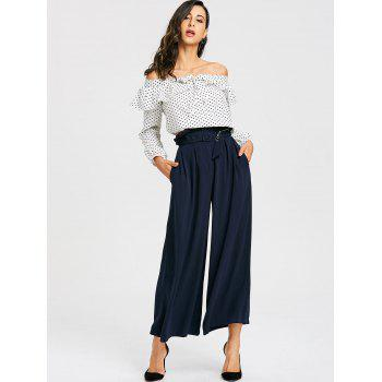 Polka Dot Off The Shoulder Cropped Blouse - WHITE WHITE