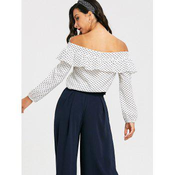 Polka Dot Off The Shoulder Cropped Blouse - WHITE XL