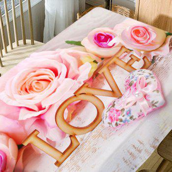 Valentine's Day Hearts Roses Love Pattern Waterproof Table Cloth - COLORMIX W54 INCH * L54 INCH