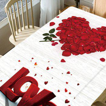 Rose Petals Heart Love Patterned Valentine's Day Waterproof Table Cloth - RED/WHITE W54 INCH * L54 INCH