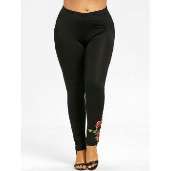 Soft Plus Size Floral Embroidered Pants - BLACK BLACK
