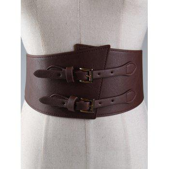 Vintage Metal Buckle Two Holes Decoration Wide Waist Belt - CHOCOLATE