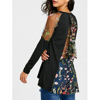 Raglan Sleeve Embroidery Sheer Top - BLACK BLACK