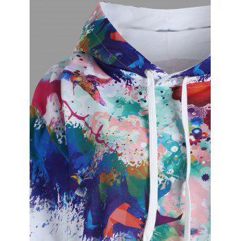 Kangaroo Pocket Ink Painting Hoodie - WHITE 2XL