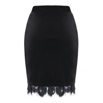 Slit Eyelash Lace Trimmed Bodycon Skirt - BLACK XL