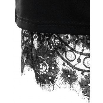 Slit Eyelash Lace Trimmed Bodycon Skirt - BLACK 2XL