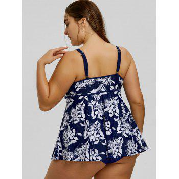 Plus Size Floral Printed Spaghetti Strap Tankini Set - CADETBLUE / WHITE CADETBLUE / WHITE