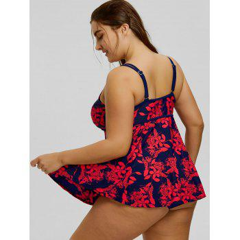 Plus Size Floral Printed Spaghetti Strap Tankini Set - RED/CADETBLUE RED/CADETBLUE