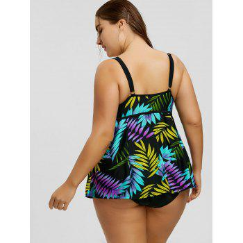 Padded Strappy Plus Size Skirted Tankini Set - BLACK BLACK