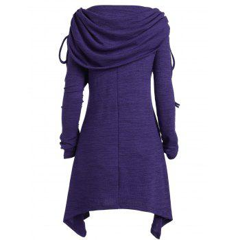 Plus Size Ruched Long Foldover Collar Top - PURPLE 3XL