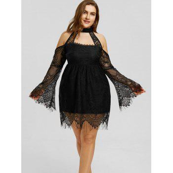 Plus Size Cold Shouder Lace Up Dress - BLACK BLACK