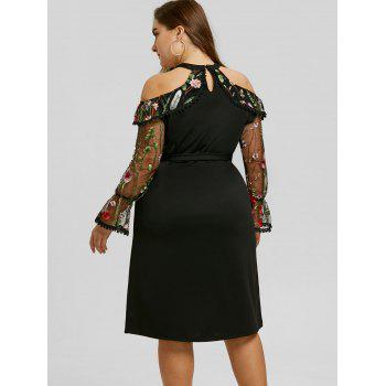 Plus Size Embroidery Mesh Panel Bodycon Dress - BLACK BLACK