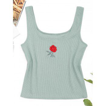 Rose Embroidered Ribbed Tank Top