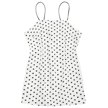 Polka Dot Mini Spaghetti Strap Dress - WHITE L