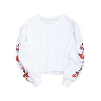 Floral Panel Cropped Sweatshirt - WHITE XL