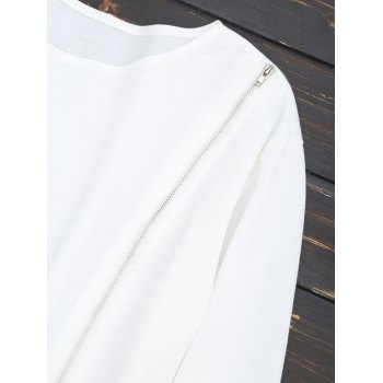 Zippered Front Cropped Sweatshirt - WHITE S