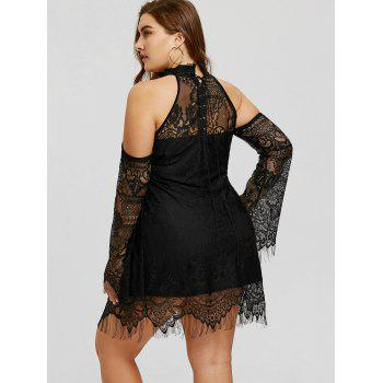Plus Size Cold Shouder Lace Up Dress - BLACK 3XL