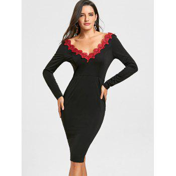 Backless Lace Trimmed Bodycon Dress - BLACK L