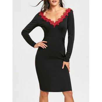 Backless Lace Trimmed Bodycon Dress - BLACK BLACK