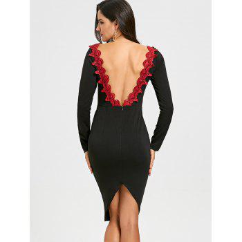 Backless Lace Trimmed Bodycon Dress - BLACK 2XL
