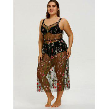 Embroidery Plus Size Slip Sheer Beach Dress - COLORMIX 3XL