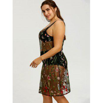 Plus Size Sheer Embroidered Slip Cover-up Dress - COLORMIX 5XL